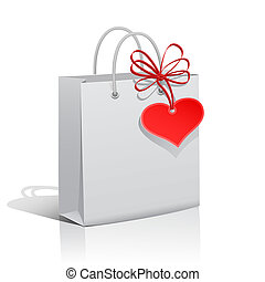 Shopping white paper bag with heart tag