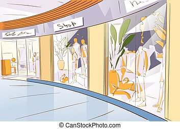 Shopping Window Modern Luxury Shop in Mall Center Vector...