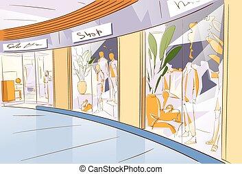 Shopping Window Modern Luxury Shop in Mall Center Vector...