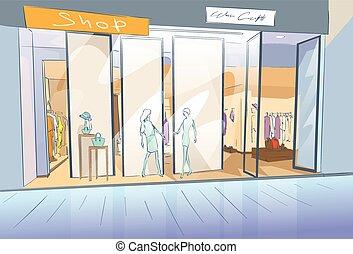 Shopping Window Modern Luxury Shop in Mall Center