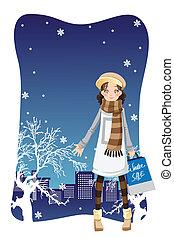 Shopping winter girl