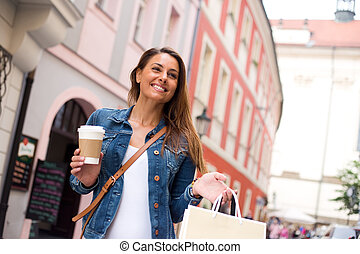 shopping with coffee