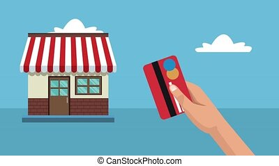 Shopping with credit card HD animation - Hand with credit...