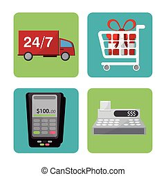 Shopping with dataphone design, Vector illustration