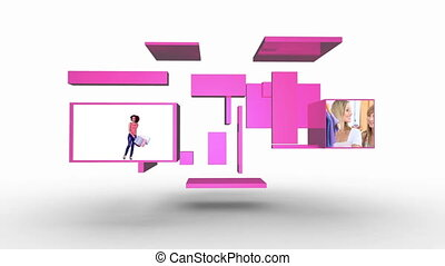 Shopping with friends montage presented on flipping pink screens