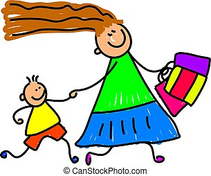 little child trying to keep up with mum whilst she's busy shopping - toddler art series