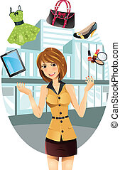 Shopping woman - A vector illustration of a beautiful...