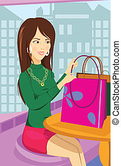 Shopping woman - A vector illustration of a shopping woman...