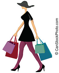 shopping woman with shopping bags against white background,...