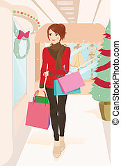 Shopping woman - A vector illustration of a beautiful woman...