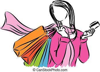 SHOPPING WOMAN CREDIT CARD VECTOR ILLUSTRATION