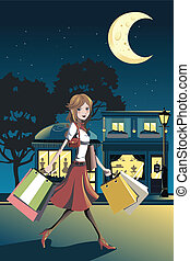 Shopping woman - A vector illustration of a woman shopping...