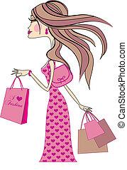 shopping woman - fashion girl with shopping bags, vector