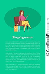 Shopping Woman Female Shopaholic with Mobile Phone