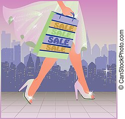 Shopping woman in city, vector