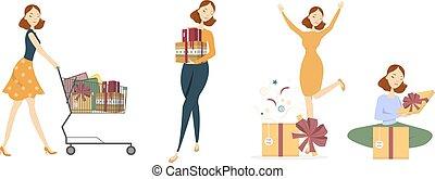 Shopping woman set. - Shopping woman set on white with gift...
