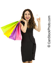 Shopping woman showing a blank sign card