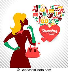 Shopping woman silhouette. Elegant stylish design