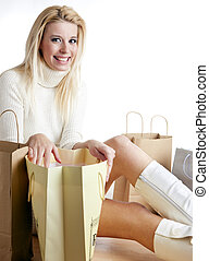 shopping woman sitting on the floor