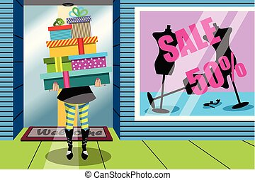 Shopping Woman Stack Gift Gifts Window Shop