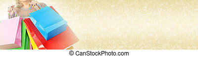 Shopping woman - Woman with shopping bags on abstract banner...