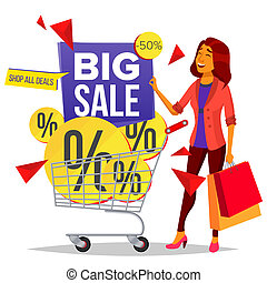 Shopping Woman Vector. Grocery Cart. Purchasing Concept. Smiling Girl. Big Discount. Holding Paper Bags. For Sales, Discounts. Business Isolated Cartoon Illustration
