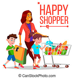 Shopping Woman Vector. With Children. Purchasing Concept. Happy Shopper. Smiling Girl. Holding Paper Packages. Joyful Female. Grocery Cart. Business Isolated Cartoon Illustration