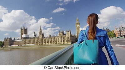 Shopping Woman With Bag Walking On Westminster Bridge In London England