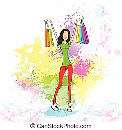 shopping woman with bags over colorful splash, casual girl