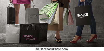 Shopping woman with Black Friday paperbag text