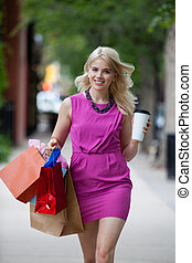 Shopping Woman with Coffee