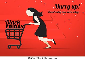 Shopping woman with  shopping cart. Black Friday advertising background template. EPS 10 vector, Marketing poster, web page design with copy space.