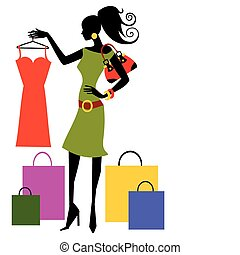 Woman looking at dress, full scalable vector graphic included Eps v8 and 300 dpi JPG.
