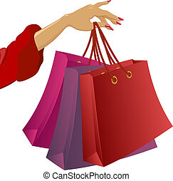Shopping: woman\\\'s hand with bags. Vector illustration on...