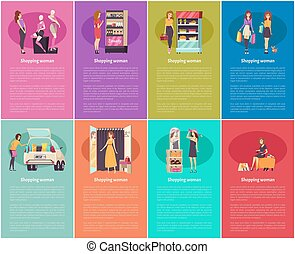 Shopping Women Buying Cosmetics and Clothes Vector