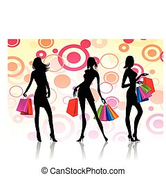 shopping women - illustration of three women with fashion...