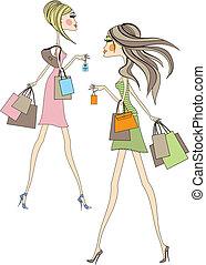 shopping women - Fashion girls walking with shopping bags, ...