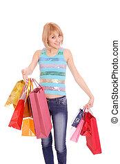Shopping women smiling.