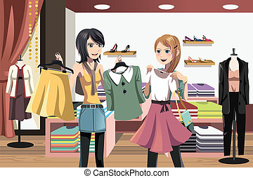 Shopping women - A vector illustration of women shopping in...