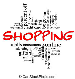 Shopping Word Cloud Concept in red & black