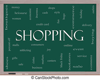 Shopping Word Cloud Concept on a Blackboard
