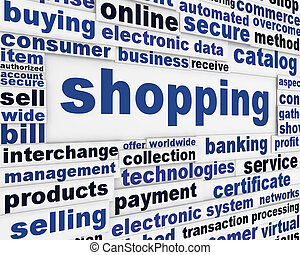 Shopping word clouds message background