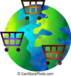 shopping world - shop anywhere in the world - concept image
