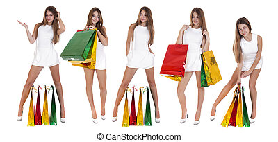 Shopping, Young blonde girls with colorful shopping bags in whit