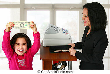 Young girl happy to have spending money.