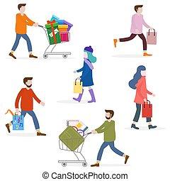 shopping., zakupy, ludzie, cielna, concept., sprzedaż, nosić