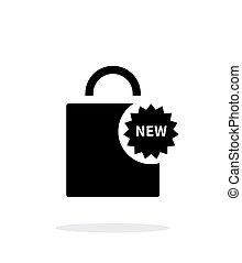 shoppingväskan, enkel, bakgrund., färsk, vit, ikon