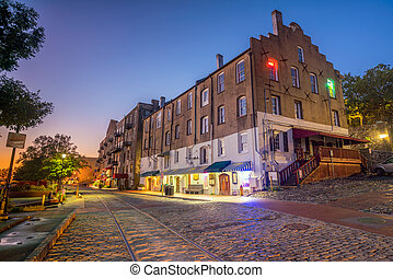 Shops and restaurants at River Street in downtown Savannah in Georgia