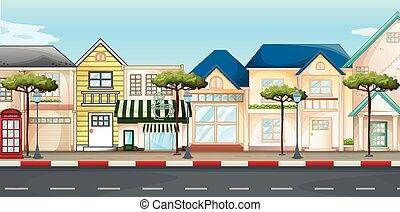Shops and stores along the street illustration