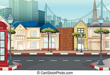 Shops on the empty street